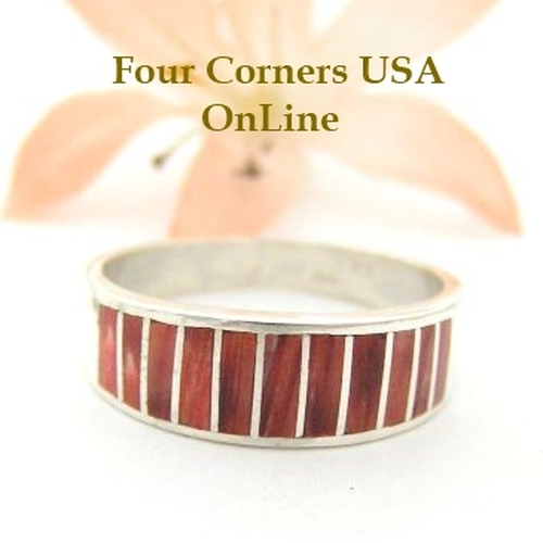 Red Spiny Oyster Inlay Band Ring Size 9 3/4 Native American Ella Cowboy Silver Jewelry WB-1524