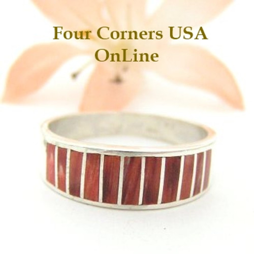 Red Spiny Oyster Inlay Band Ring Size 9 1/2 Native American Ella Cowboy Silver Jewelry WB-1524 Four Corners USA OnLine Native American Silver Jewelry
