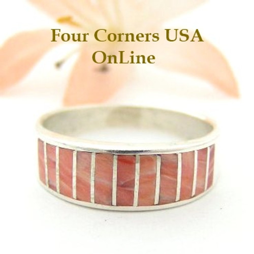 Red Spiny Oyster Inlay Band Ring Size 9 Native American Ella Cowboy Silver Jewelry WB-1525 Four Corners USA OnLine Native American Silver Jewelry