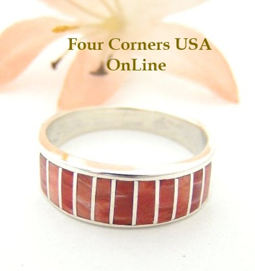 Red Spiny Oyster Inlay Band Ring Size 8 Native American Ella Cowboy Silver Jewelry WB-1527 Four Corners USA OnLine Native American Silver Jewelry