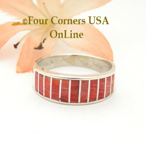 Red Spiny Oyster Inlay Band Ring Size 7 1/2 Native American Ella Cowboy Silver Jewelry WB-1528 Four Corners USA OnLine Navajo Silver Jewelry