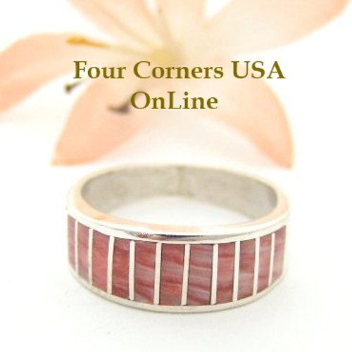 Red Spiny Oyster Inlay Band Ring Size 7 Native American Ella Cowboy Silver Jewelry WB-1529 Four Corners USA OnLine Native American Silver Jewelry