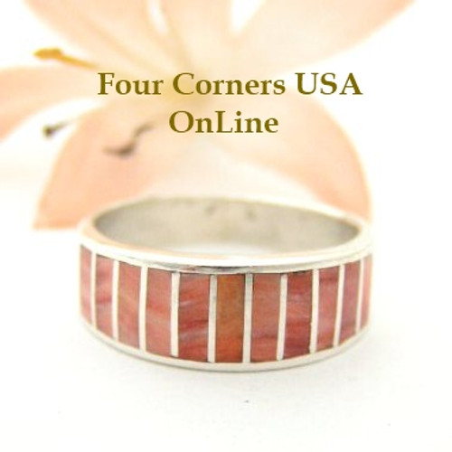 Red Spiny Oyster Inlay Band Ring Size 6 1/2 Native American Ella Cowboy Silver Jewelry WB-1530 Four Corners USA OnLine Native American Silver Jewelry