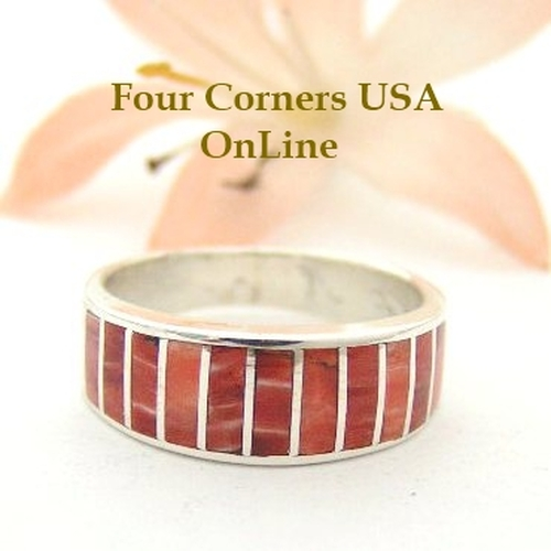 Red Spiny Oyster Inlay Band Ring Size 6 Native American Ella Cowboy Silver Jewelry WB-1532