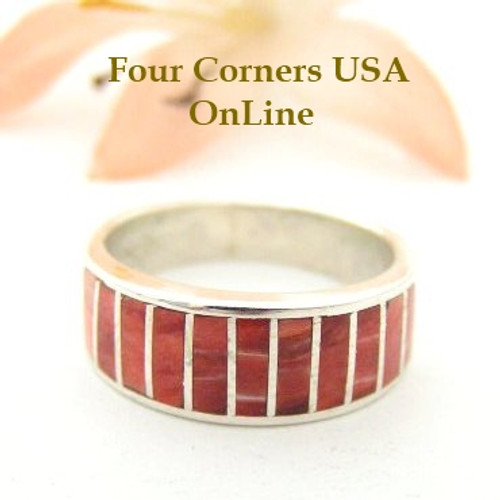 Red Spiny Oyster Inlay Band Ring Size 5 Native American Ella Cowboy Silver Jewelry WB-1533 Four Corners USA OnLine Native American Silver Jewelry