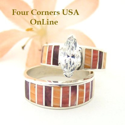 Multi Color Spiny Oyster Shell Bridal Wedding Engagement Ring Set Size 6 Four Corners USA OnLine Native American Indian Jewelry WS-1467