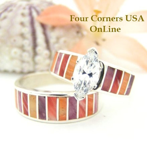 Multi Color Spiny Oyster Shell Bridal Wedding Engagement Ring Set Size 9 Four Corners USA OnLine Native American Indian Jewelry WS-1473