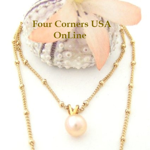 Solitaire Freshwater Peach Pearl Necklace 18 Inch 14KGF Bead Chain Four Corners USA OnLine Jewelry FCN-13009