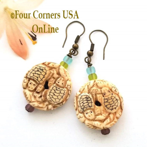 Colorful Glass Carved Bone Turtle Earrings Antiqued HypoAllergenic Steel Wires EAR-12086 American Artisan Handcrafted Fashion Jewelry Four Corners USA OnLine