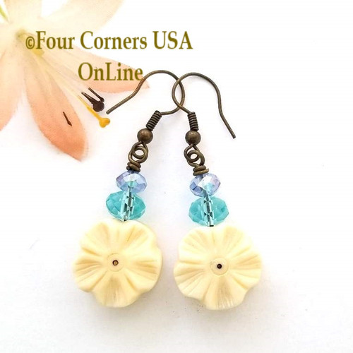 Colorful Glass Carved Bone Flower Earrings Antiqued HypoAllergenic Steel Wires EAR-12087 American Artisan Handcrafted Fashion Jewelry Four Corners USA OnLine