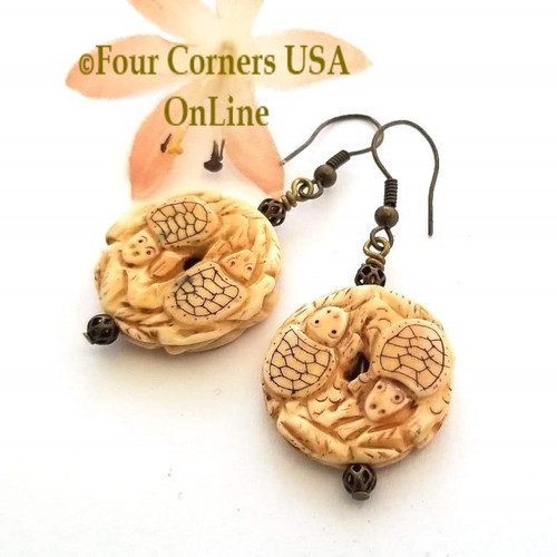 Double Carved Bone Turtle Earrings Antiqued HypoAllergenic Steel Wires EAR-12088 American Artisan Handcrafted Fashion Jewelry Four Corners USA OnLine