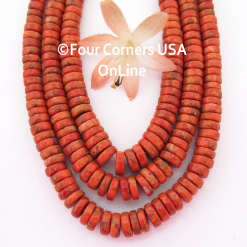 On Sale Now! 10mm to 6mm Graduated Organic Apple Coral Heishi Disc Beads 16 Inch Strand Four Corners USA OnLine Jewelry Making Supplies AC-13014