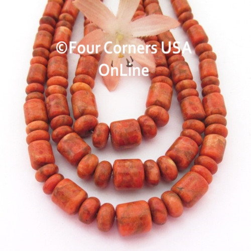 On Sale Now! 10mm to 6mm Graduated Organic Apple Coral Barrel and Rondelle Mix Designer 16 Inch Bead Strand Four Corners USA OnLine Jewelry Making Beading Supplies AC-13015