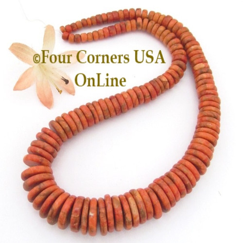 Graduated Organic Apple Coral 17mm Disc Beads Designer 16 Inch Strand Four Corners USA OnLine Jewelry Making Supplies AC-13016
