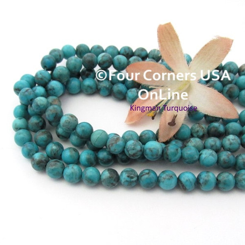 6mm Round Old Blue Kingman Turquoise Beads 16 Inch Strands TQ-17109 Four Corners USA OnLine Jewelry Making Beading Supplies