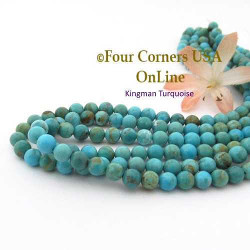 6mm Round Kingman Blue Green Mix Turquoise Beads 16 Inch Strands TQ-17114 Four Corners USA OnLine Jewelry Making Beading Supplies