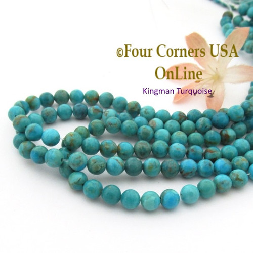 6mm Round Kingman Teal Blue Turquoise Beads 16 Inch Strands TQ-17115 Four Corners USA OnLine Jewelry Making Beading Supplies