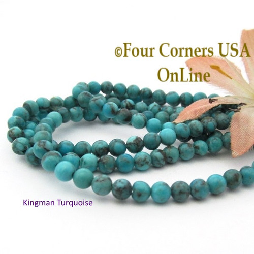 4mm Round Old Blue Kingman Turquoise Beads 16 Inch Strands TQ-17111 Four Corners USA OnLine Jewelry Making Beading Supplies