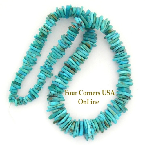 Graduated FreeForm Slice Kingman Turquoise Beads Designer 16 Inch Strand Four Corners USA OnLine Jewelry Making Supplies GFF09