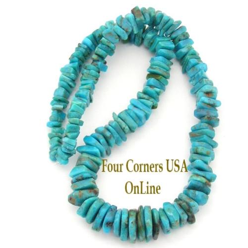 Graduated FreeForm Slice Kingman Turquoise Beads Designer 16 Inch Strand Four Corners USA OnLine Jewelry Making Supplies GFF16