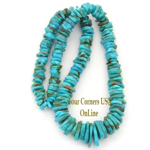 On Sale Now! Graduated FreeForm Slice Kingman Turquoise Beads Designer 16 Inch Strand Four Corners USA OnLine Jewelry Making Beading Craft Supplies GFF17