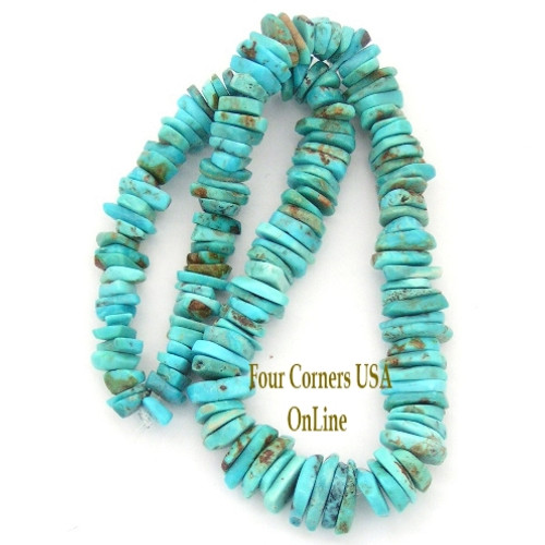 Graduated FreeForm Slice Kingman Turquoise Beads Designer 16 Inch Strand Four Corners USA OnLine Jewelry Making Supplies GFF19