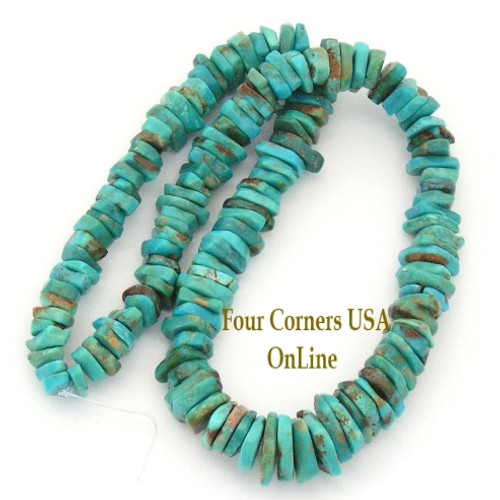 Graduated FreeForm Slice Kingman Turquoise Beads Designer 16 Inch Strand Four Corners USA OnLine Jewelry Making Supplies GFF20