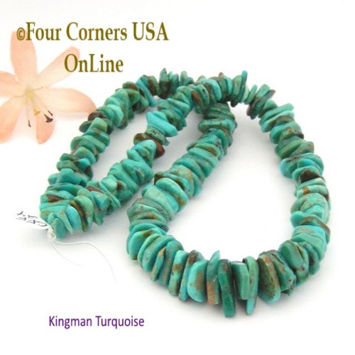15mm Graduated FreeForm Slice Kingman Turquoise Beads Designer 16 Inch Strand Four Corners USA OnLine Jewelry Making Supplies GFF24