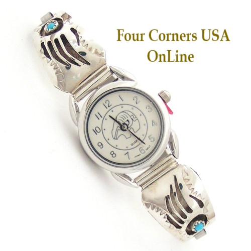 On Sale Women's Shadowbox Badger (Bear) Paw Sterling Watch with Bear Motif Face Four Corners USA OnLine Native American Jewelry NAW-1415