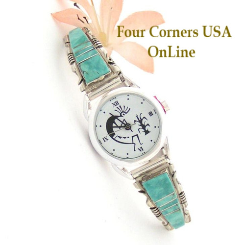 On Sale Now Women's Turquoise Inlay Sterling Watch Navajo Silversmith Steve Francisco Four Corners USA Online Native American Jewelry NAW-1418