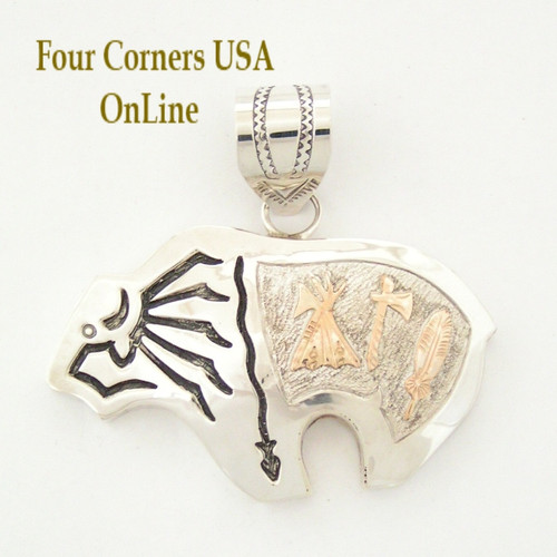 Large Buffalo (Bison) Sterling Pendant Native American Indian Silver Jewelry Navajo Alonza Mariano Four Corners USA OnLine Shopping NAP-1453