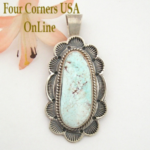 Large Elongated Nevada Dry Creek Turquoise Sterling Pendant Navajo Artisan Thomas Francisco Four Corners USA OnLine Native American Silver Jewelry NAP-1457