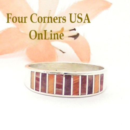Multi Color Spiny Oyster Shell Inlay Band Ring Size 11 Native American Ella Cowboy Four Corners USA OnLine Navajo Silver Jewelry WB-1534