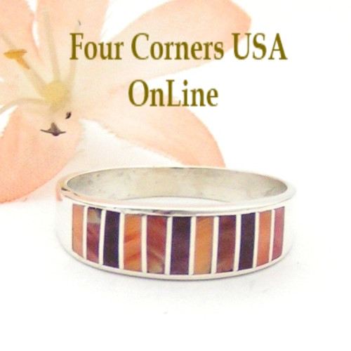 Multi Color Spiny Oyster Shell Inlay Band Ring Size 11 Native American Ella Cowboy Silver Jewelry WB-1535 Four Corners USA OnLine Navajo Wedding Jewelry
