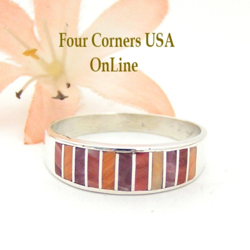 Orange Red Purple Spiny Oyster Shell Inlay Band Ring Size 12 1/4 Native American Ella Cowboy Silver Jewelry WB-1538 Four Corners USA OnLine Navajo Wedding Jewelry