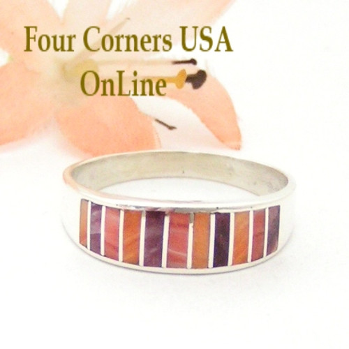 Multi Color Spiny Oyster Shell Inlay Band Ring Size 12 1/4 Native American Ella Cowboy Four Corners USA OnLine Navajo Silver Wedding Jewelry WB-1539