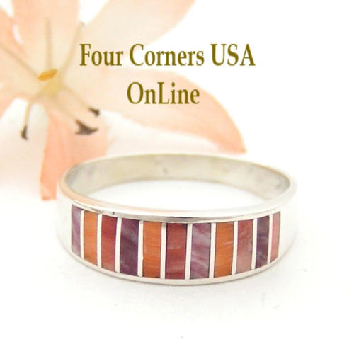 Multi Color Orange Red Purple Spiny Oyster Shell Inlay Band Ring Size 12 1/2 Native American Ella Cowboy Silver Jewelry WB-1541 Four Corners USA OnLine Jewelry