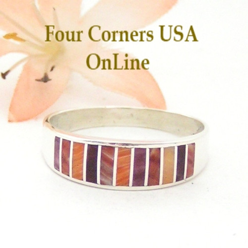 Multi Color Spiny Oyster Shell Inlay Band Ring Size 13 Native American Ella Cowboy Four Corners USA OnLine Navajo Silver Jewelry WB-1542