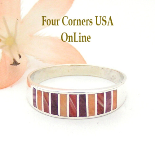 Multi Color Purple Red Orange Spiny Oyster Shell Inlay Band Ring Size 13 Native American Ella Cowboy Silver Jewelry WB-1543 Four Corners USA OnLine Navajo Wedding Jewelry