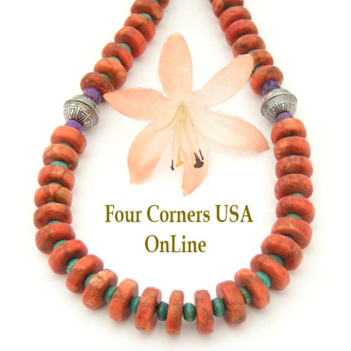 Graduated Apple Coral and Turquoise Heishi Bead 24 Inch Necklace Four Corners USA OnLine Jewelry FCN-13016