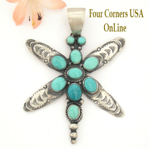 Carico Lake Turquoise Dragonfly Pendant Navajo Silver Jewelry by Ella Peter Four Corners USA OnLine Native American Jewelry NAP-1461