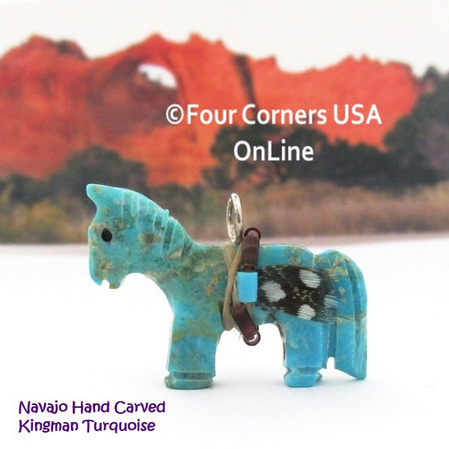 Carved Horse Kingman Turquoise Pendant NAM-1410 Navajo Artisan Jeff Howe Four Corners USA OnLine Native American Crafts