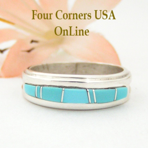 Size 7 Turquoise Inlay Ring Native American Wilbert Muskett Jr Four Corners USA OnLine Navajo Silver Jewelry WB-1549