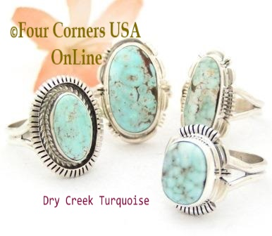 Size 7 Dry Creek Turquoise Rings Four Corners USA OnLine Native American Navajo Silver Jewelry