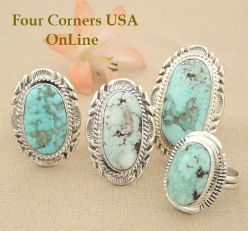 Size 9 Dry Creek Turquoise Rings Four Corners USA OnLine Native American Navajo Silver Jewelry
