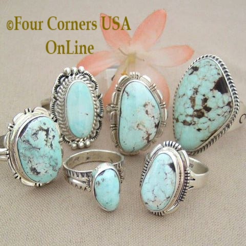 Nevada Dry Creek Turquoise Rings for Men and Women Four Corners USA OnLine Navajo Silver Jewelry