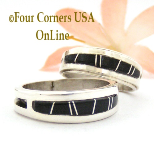 Black Jet Inlay Band Rings Four Corners USA OnLine Native American Jewelry