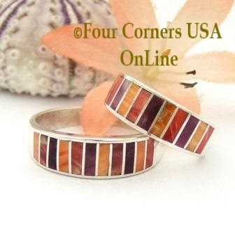On Sale Now Multi Color Spiny Oyster Shell Inlay Band Rings Navajo Ella Cowboy Four Corners USA OnLine Native American Jewelry