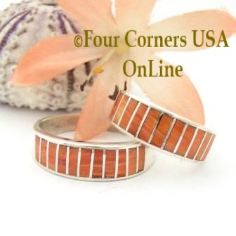 On Sale Now Orange Spiny Oyster Shell Inlay Band Rings Navajo Ella Cowboy Four Corners USA OnLine Native American Jewelry
