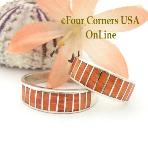 On Sale Now Inlay Orange Spiny Oyster Shell Native American Navajo Silver Rings Four Corners USA OnLine